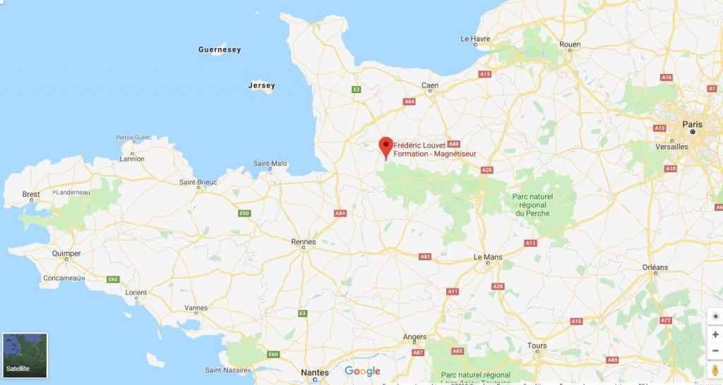 Carte de situation des stages de Magnétisme Frédéric Louvet